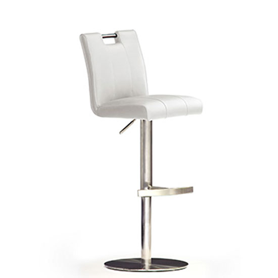 Casta White Bar Stool In Faux Leather With Stainless Steel Base