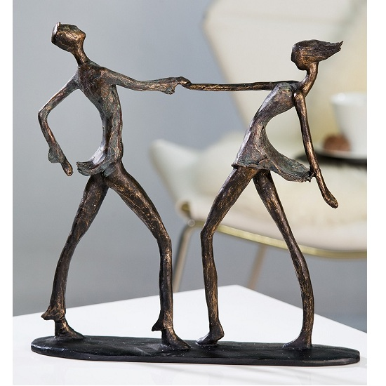 Jive Sculpture In Bronce With Black Base