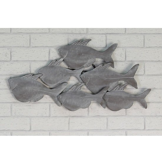 Fished Wall Art In Metal Grey Wiped
