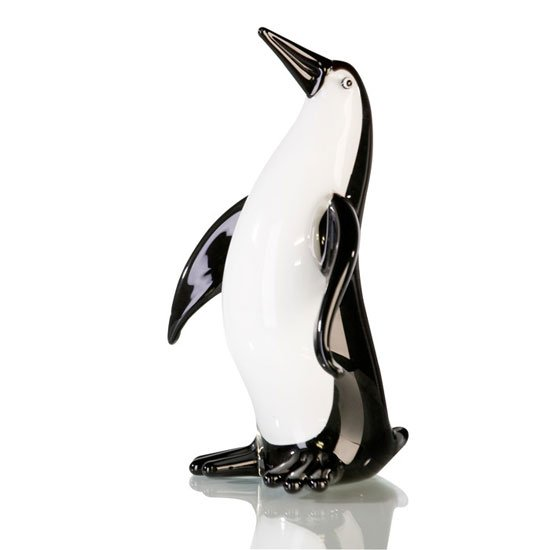 Penguin Sculpture In Black And White Glass