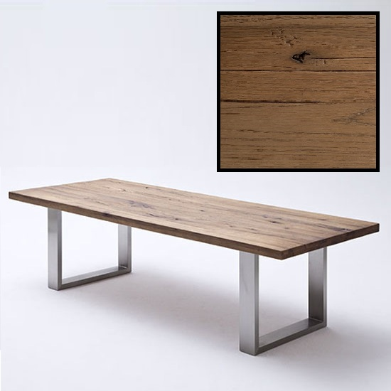 Capello 220cm Bano Oak Dining Table With Stainless Steel Legs