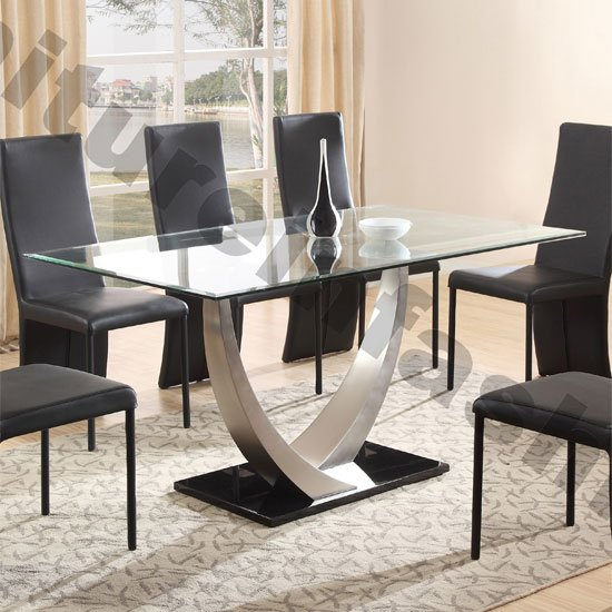 Cesar Dining Table In Clear Glass Top