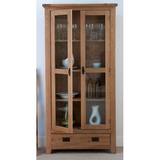 Corrick Glazed Display Cabinet In American White Oak With Lights