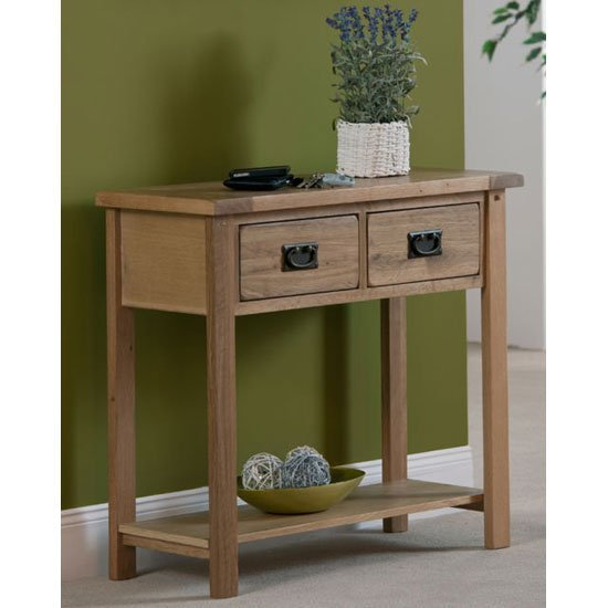 Corrick Small Console Table In American White Oak With 2