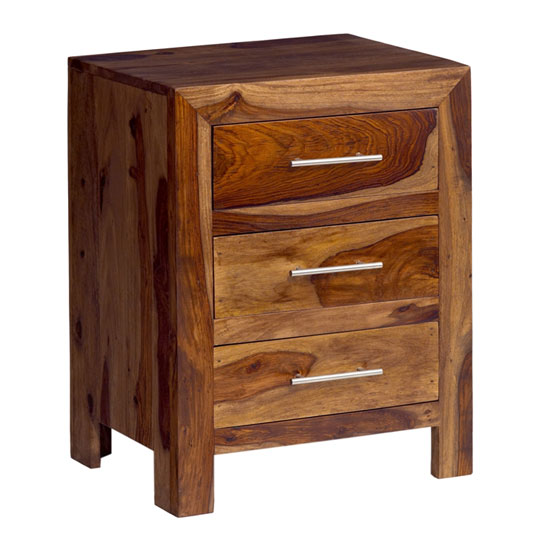 Cube Sheesham 3 Drawer Bedside Cabunet