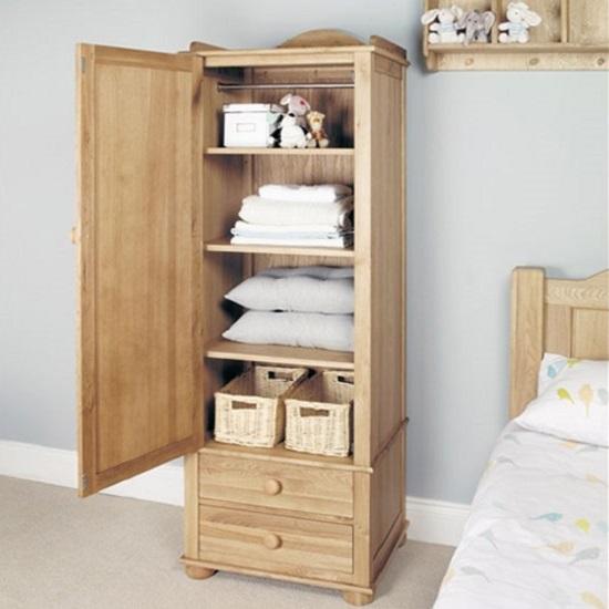 Amila Wooden Oak Children Single Wardrobe With 2 Large Drawers