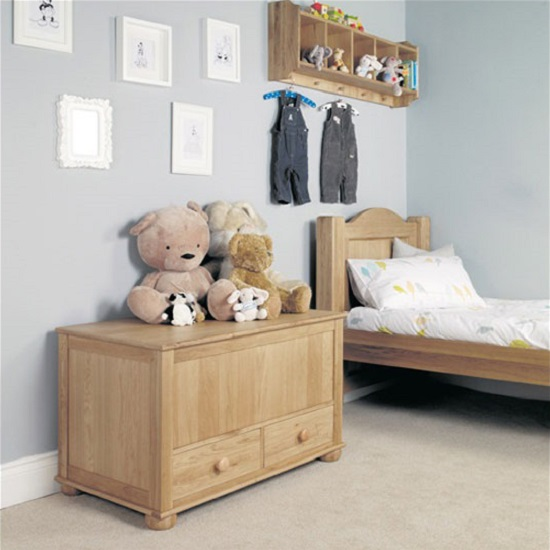 Amila Oak Children Toy Box Cum Blanket Box With 2 Drawers