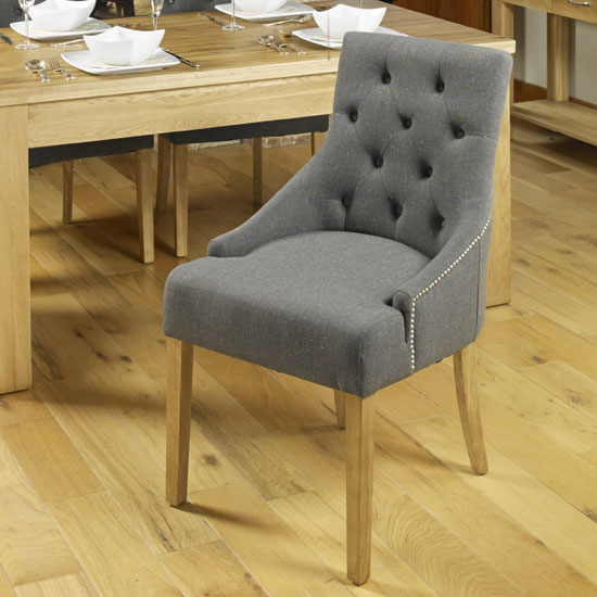 Harry Dining Chair In Slate With Oak Legs In A Pair