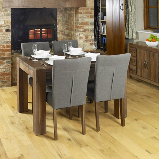 Norden Wooden Dining Table With 4 Dining Chairs In Walnut
