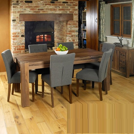 Norden Wooden Dining Table Wide With 6 Dining Chairs In Walnut