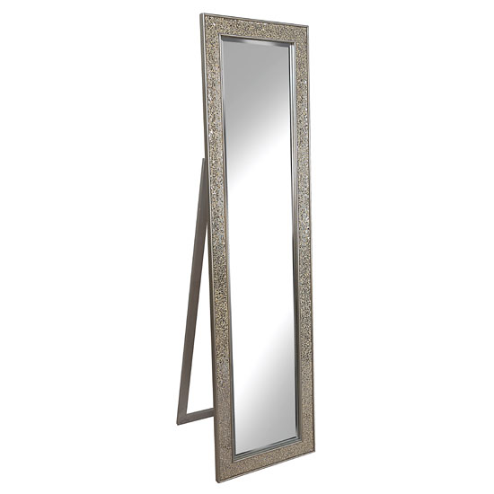 Aliza Floor Standing Cheval Mirror In Champagne Mosaic Frame