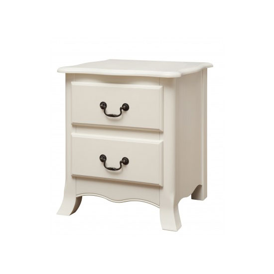 Chanty Off White Finish 2 Drawer Bedside Cabinet