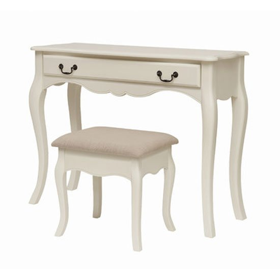 Chanty Off White Finish Dressing Table With Stool