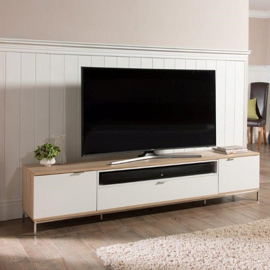 Nelson Wooden Tv Cabinet Large In White And Light Oak 26486