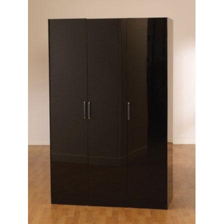 Stefan High Gloss Black 3 Door Wardrobe