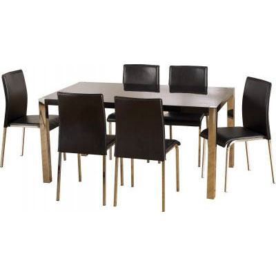 Stefan Hi Gloss Black Dining Table 6 Black PVC Chrome Chairs