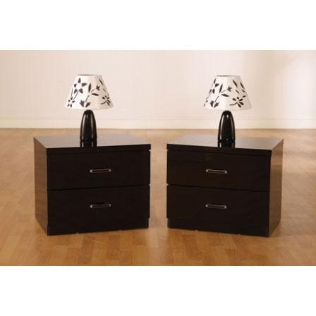 Stefan High Gloss Black 2 Drawer Bedside Cabinet