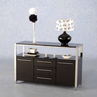 Stefan HiGloss Black Modern Sideboard