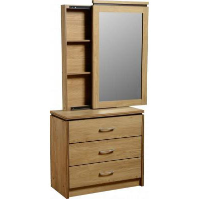 Carlo 3 Drawer Dressing Table Mirror With Back Storage S
