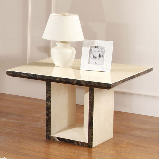 Lamp On Table: Chic Cream Marble Lamp Table,Lighting