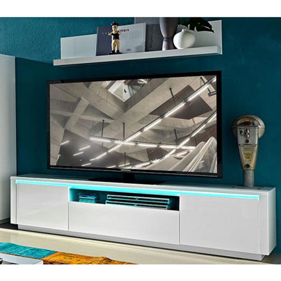 Chique LCD TV Stand In White High Gloss With LED Light