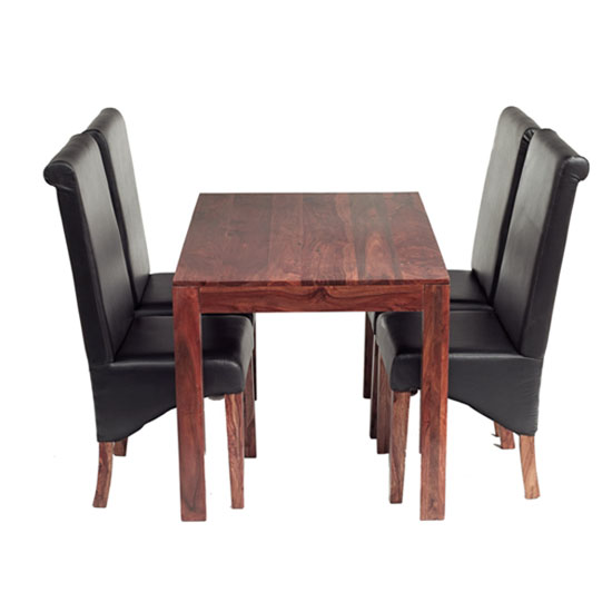 Cube sheesham dining set with 4 leather chairs 17080 for Leather chairs for kitchen table