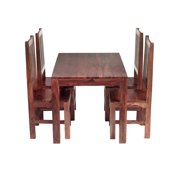 Cube Sheesham Dining Set with 4 High Back Chairs