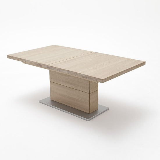 Corato Extendable Dining Table Rectangular In Bianco Oak
