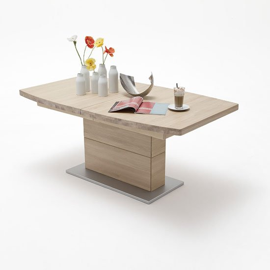 Corato Extendable Dining Table Boat Shape In Bianco Oak