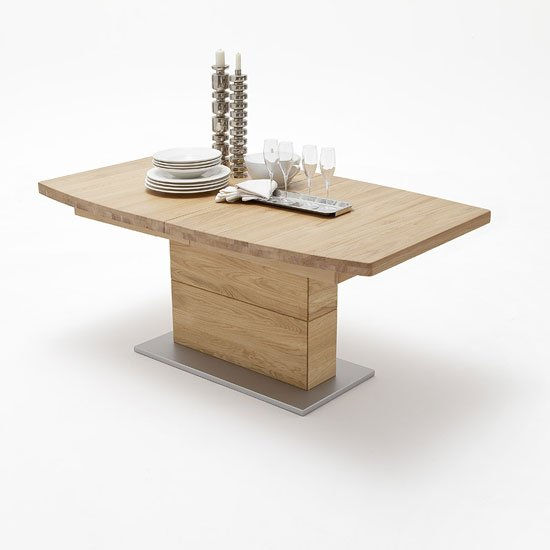 Corato Extendable Dining Table Boat Shape In Wild Oak