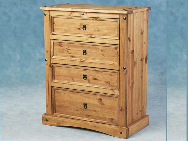 Carona 4 Drawer Chest In Waxed Pine
