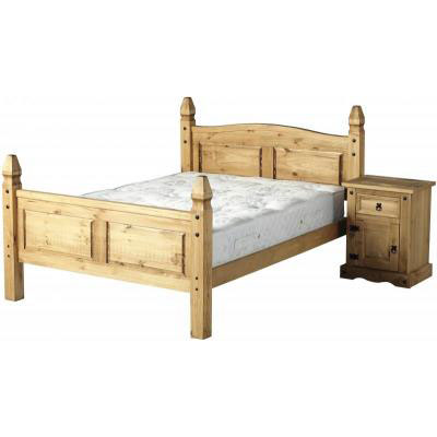 Corona Waxed Pine Mexican Bed With High Foot End
