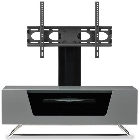 Romi LCD TV Stand In Grey With Chrome Base_2