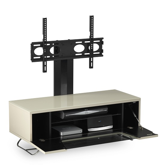 Romi LCD TV Stand In Ivory With Chrome Base_9