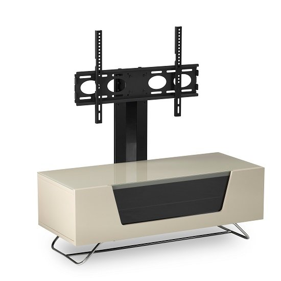 Romi LCD TV Stand In Ivory With Chrome Base_7