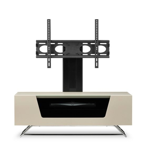 Romi LCD TV Stand In Ivory With Chrome Base_8