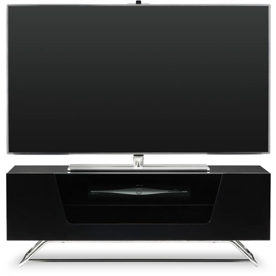 Romi LCD TV Stand In Black With Chrome Base_1