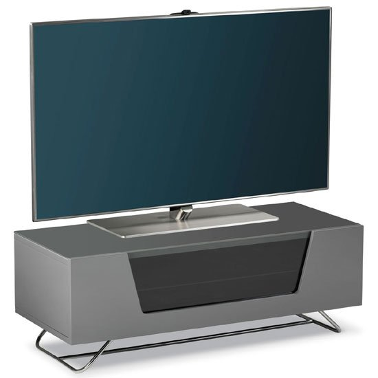 Romi LCD TV Stand In Grey With Chrome Base_1