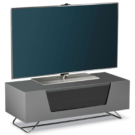 Romi LCD TV Stand In Grey With Chrome Base 21708 Furniture