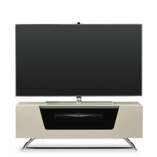 Romi LCD TV Stand In Ivory With Chrome Base