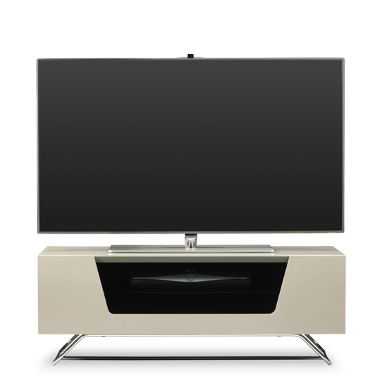 Romi LCD TV Stand In Ivory With Chrome Base_1