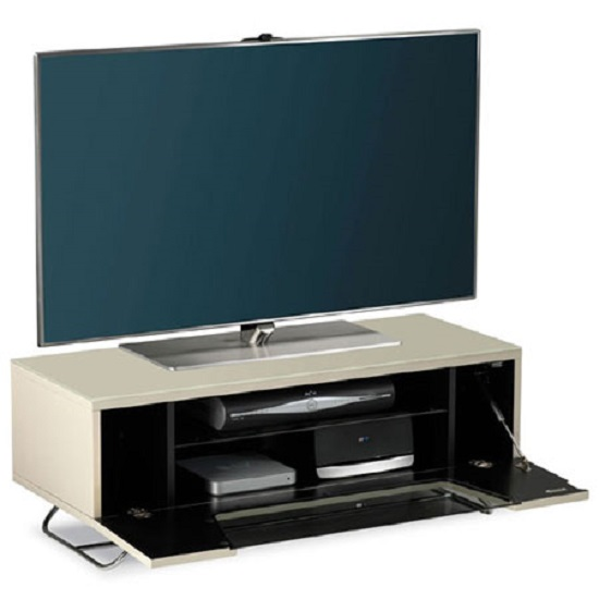 Romi LCD TV Stand In Ivory With Chrome Base_3