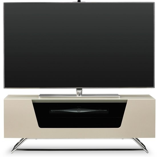 Romi LCD TV Stand In Ivory With Chrome Base_2