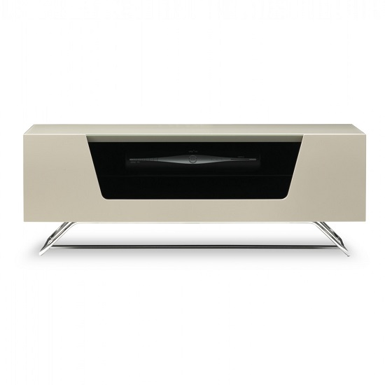 Romi LCD TV Stand In Ivory With Chrome Base_4