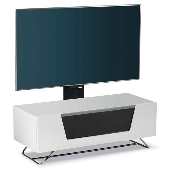 Romi LCD TV Stand In White With Chrome Base_2
