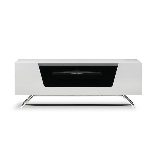 Romi LCD TV Stand In White With Chrome Base_3