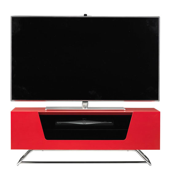 Read more about Romi lcd tv stand in red with chrome base
