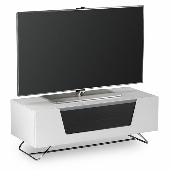 Romi LCD TV Stand In White With Chrome Base