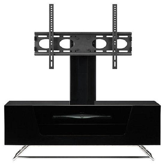 Romi LCD TV Stand In Black With Chrome Base_9