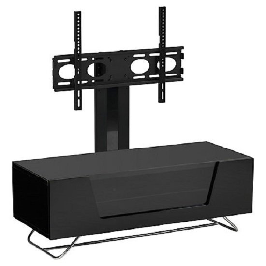 Romi LCD TV Stand In Black With Chrome Base_8